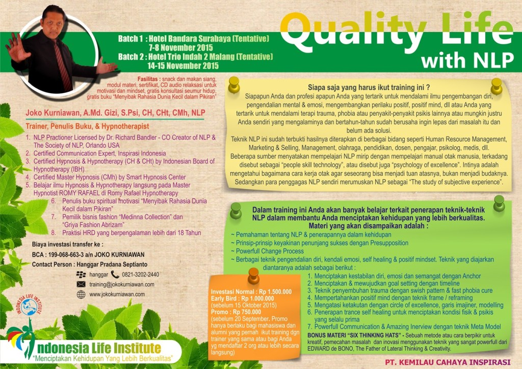 Brosur Quality Life with NLP Batch 1 & 2 Hanggar